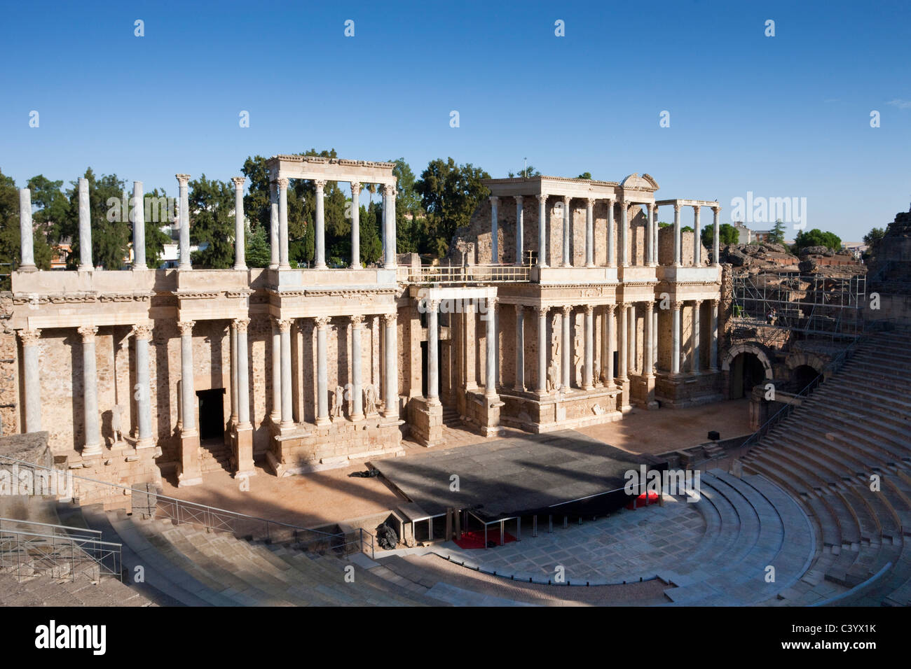 Spain, Europe, Merida, UNESCO, world cultural heritage, theater, Roman, amphitheater, stage - Stock Image