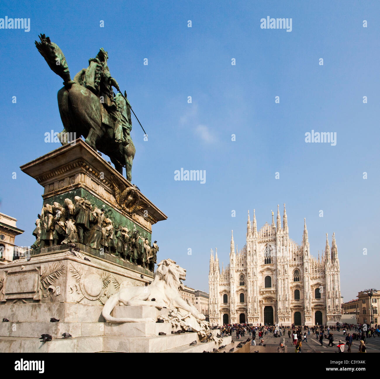 Italy, Europe, Milano, Milan, cathedral, dome, church, place, lion, statue, tourist, rider's statue - Stock Image
