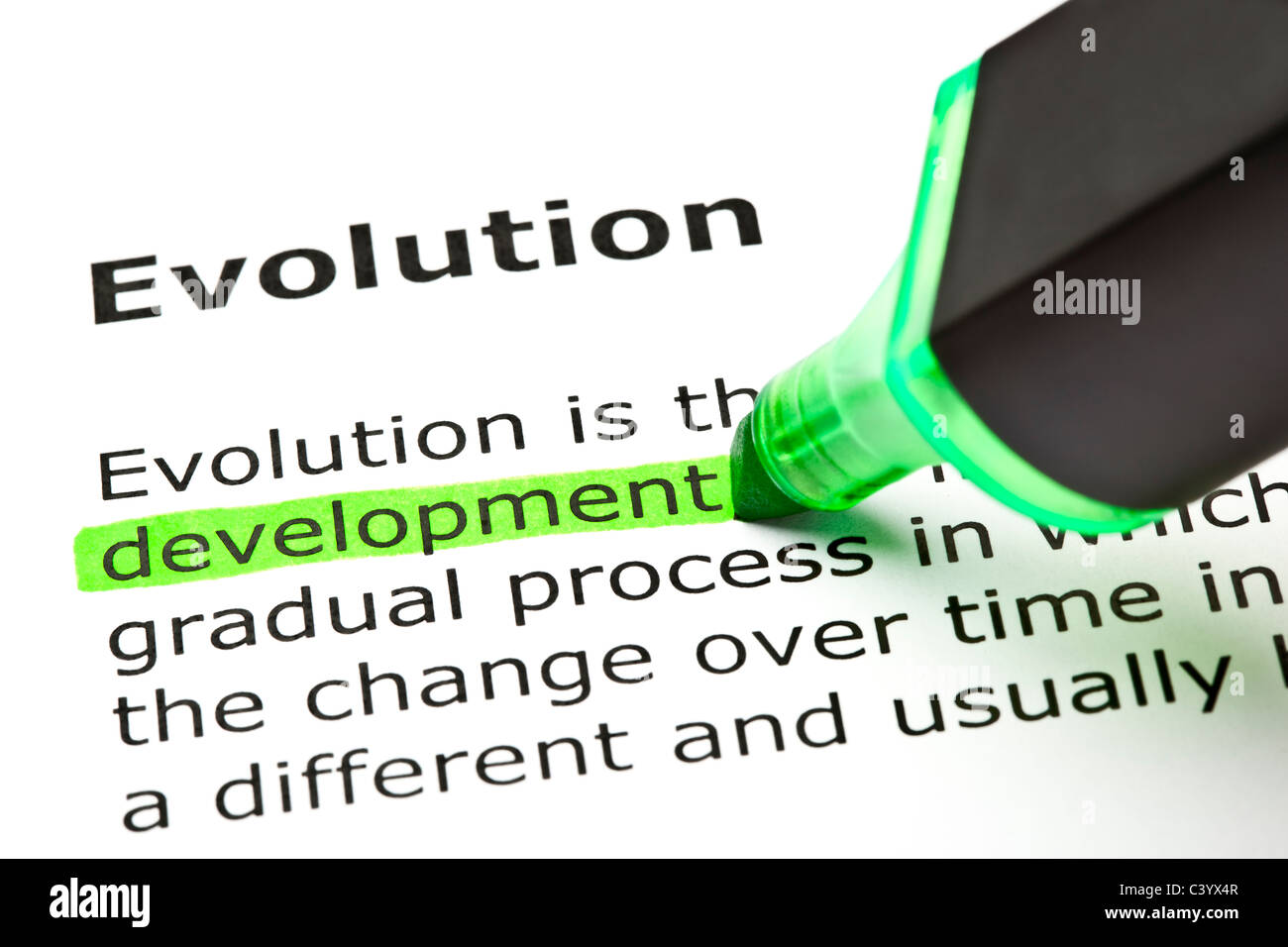 'Development' highlighted in green, under the heading 'Evolution' - Stock Image