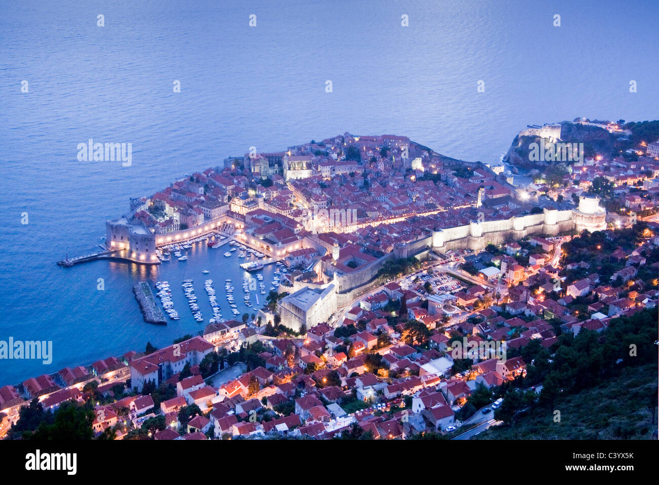 Croatia, Europe, Dubrovnik, Adriatic, sea, Old Town, world cultural heritage, in, evening, harbour, port, - Stock Image