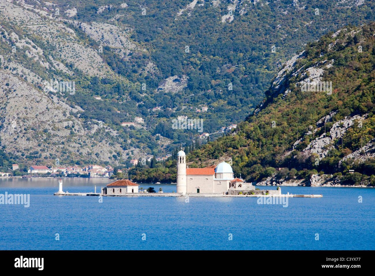 Montenegro, Europe, Adriatic, sea, Perast, island, isle, church, Boka Kotorska, - Stock Image