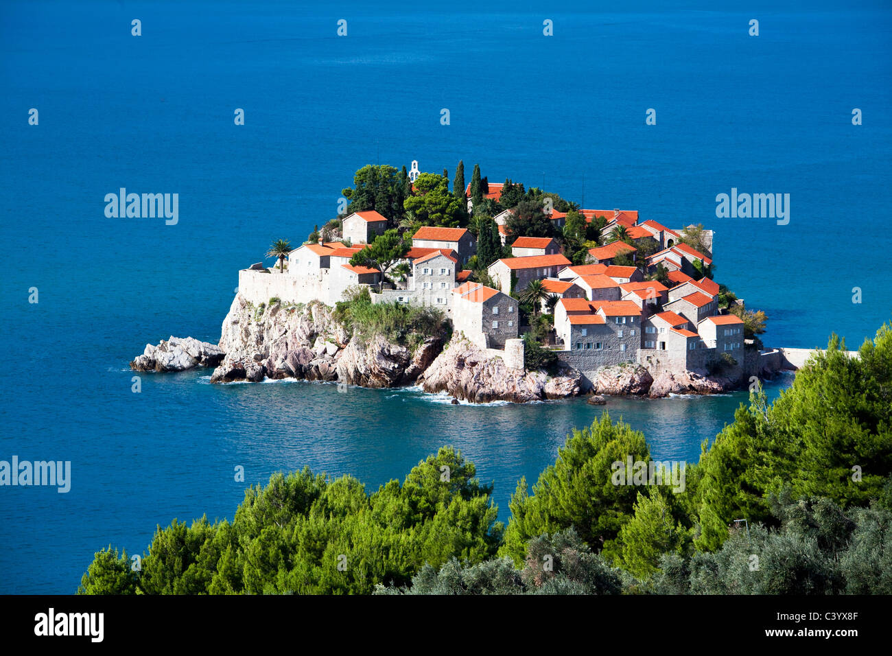 Montenegro, Europe, Adriatic, sea, Sveti Stefan, Old Town, peninsula - Stock Image