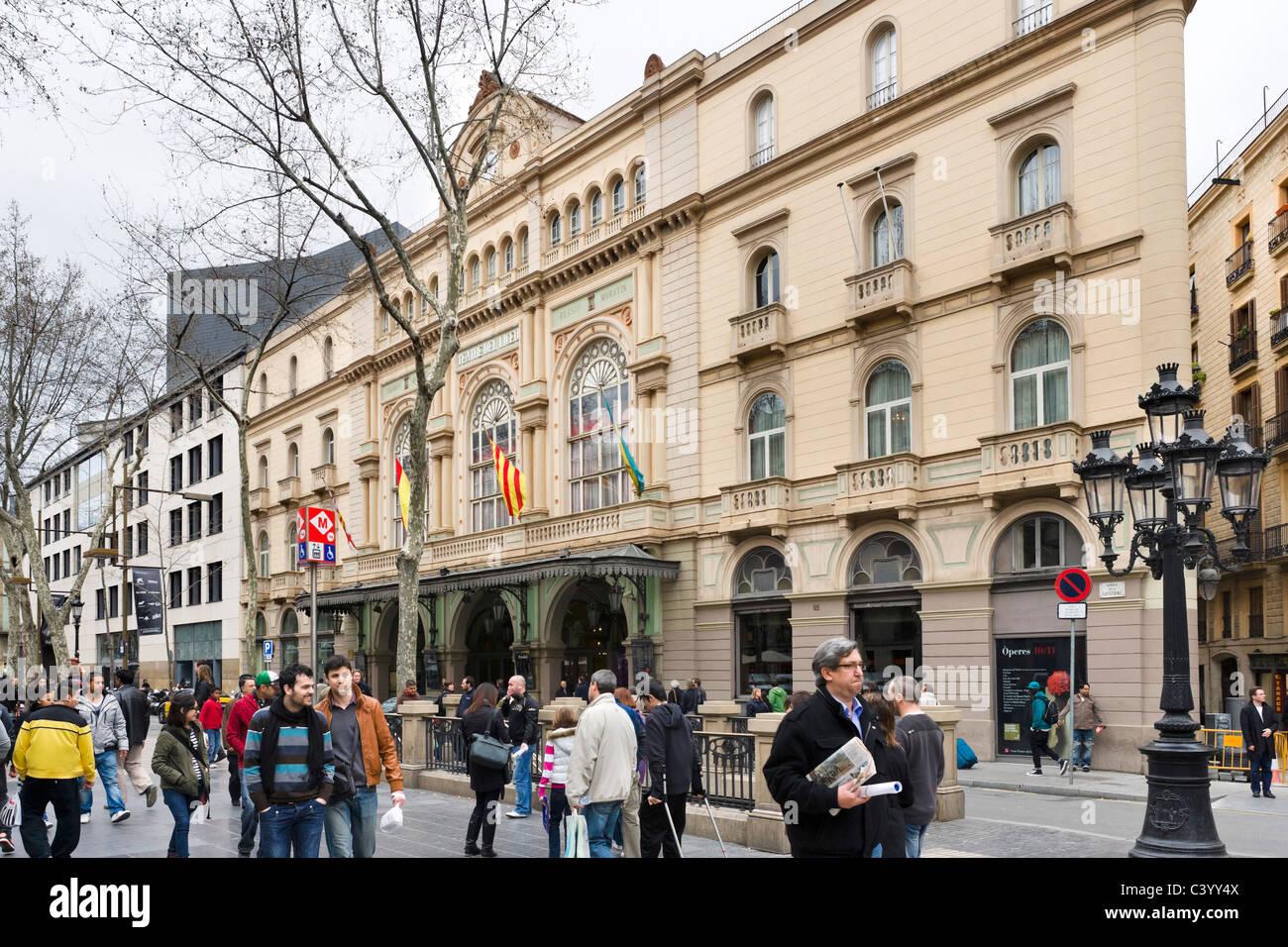 The Gran Teatre del Liceu on La Rambla (Las Ramblas), Barcelona, Catalunya, Spain - Stock Image