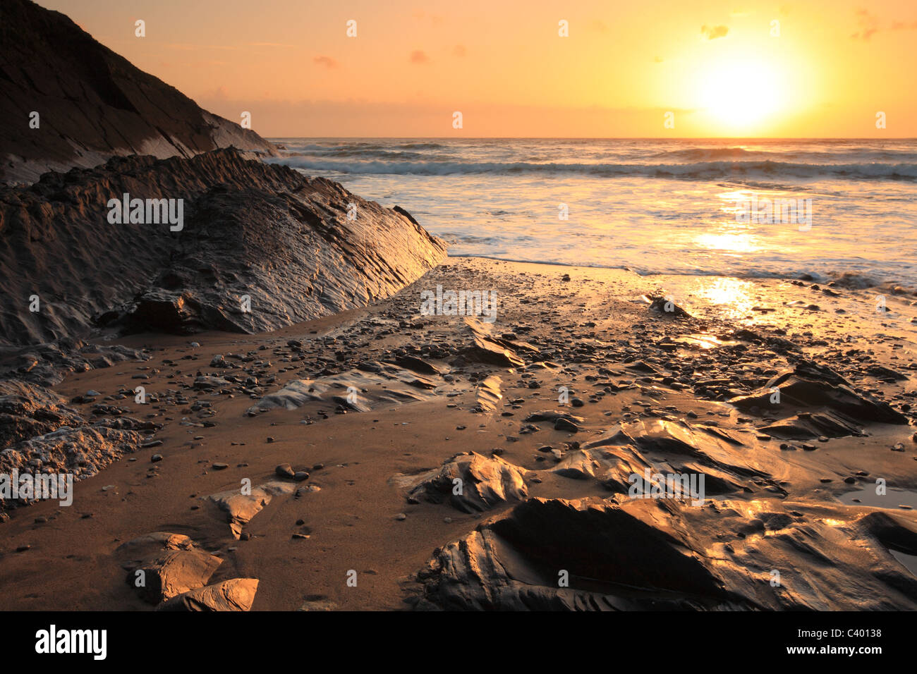 Crackington Haven - sunset, North Cornwall, England, UK - Stock Image