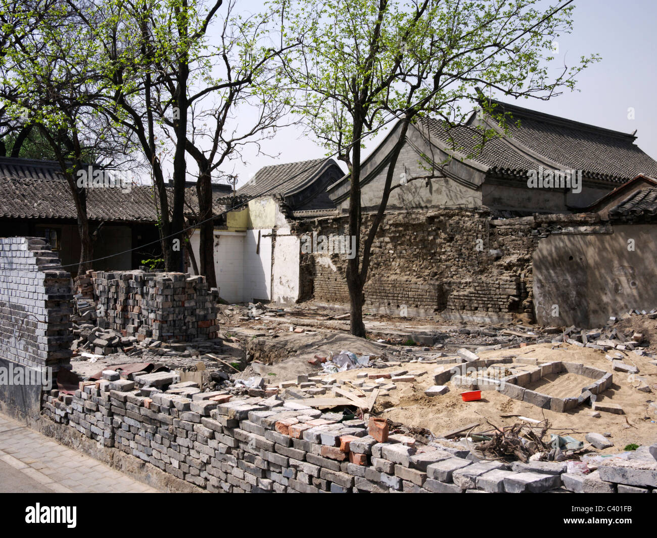 Construction site inside a Beijing Hutong, China - Stock Image