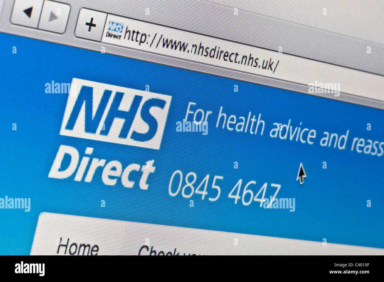 Close up of the NHS Direct logo as seen on its website. (Editorial use only: print, TV, e-book and editorial - Stock Image