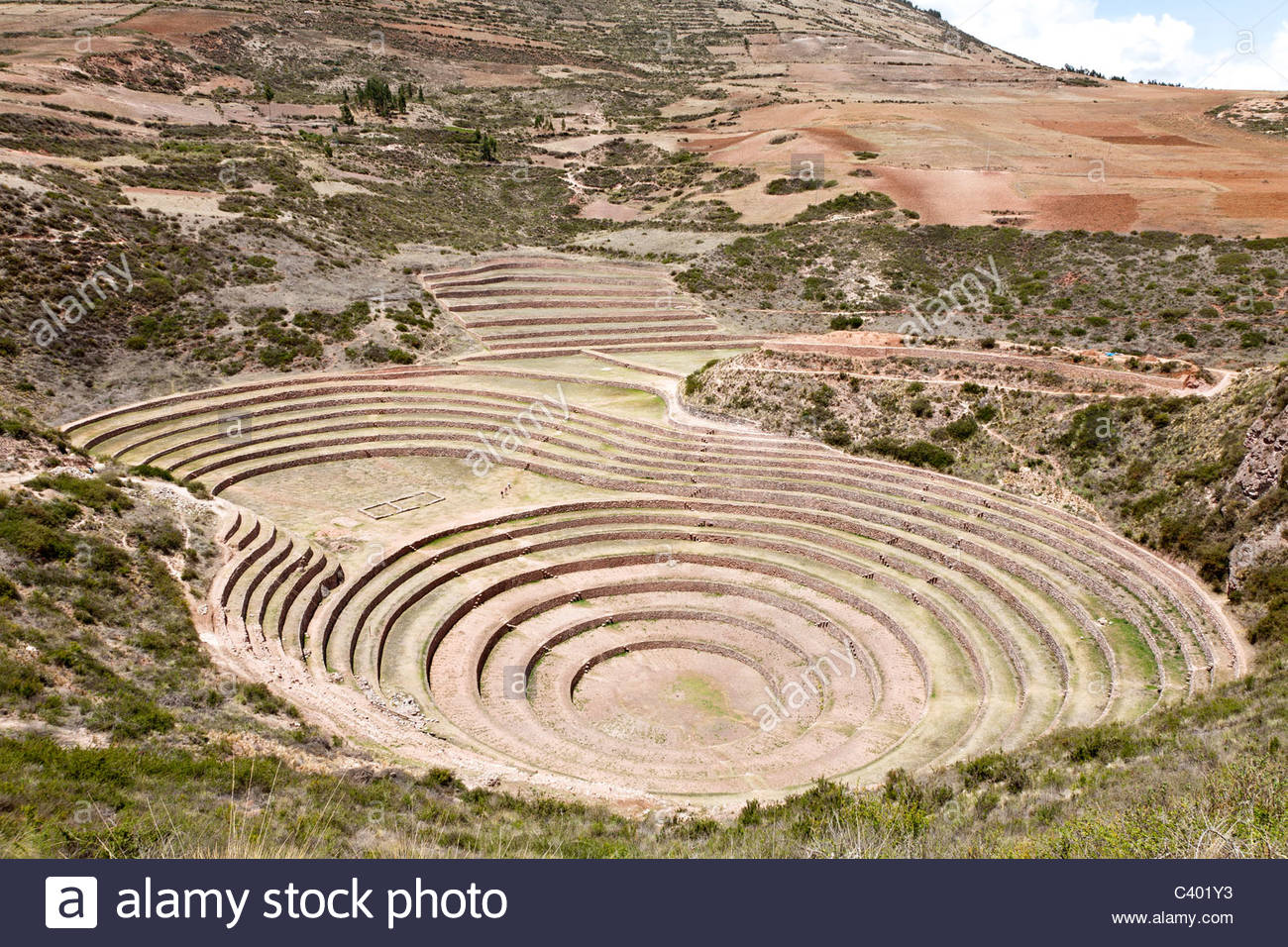 Inca agricultural terraces at Moray, near Ollantaytambo, Sacred Valley, Peru. - Stock Image