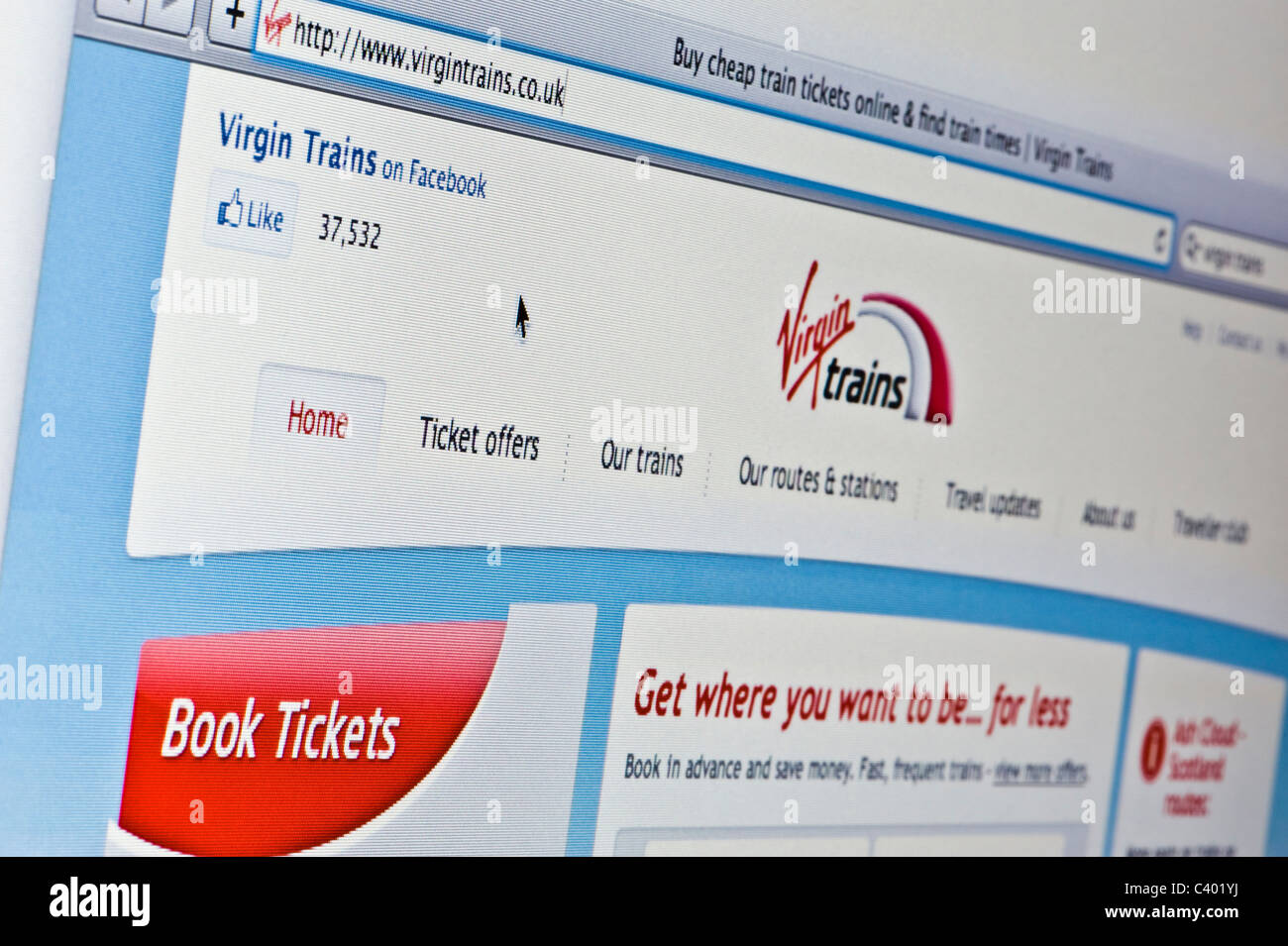 Close up of the Virgin Trains logo as seen on its website. (Editorial use only: print, TV, e-book and editorial - Stock Image