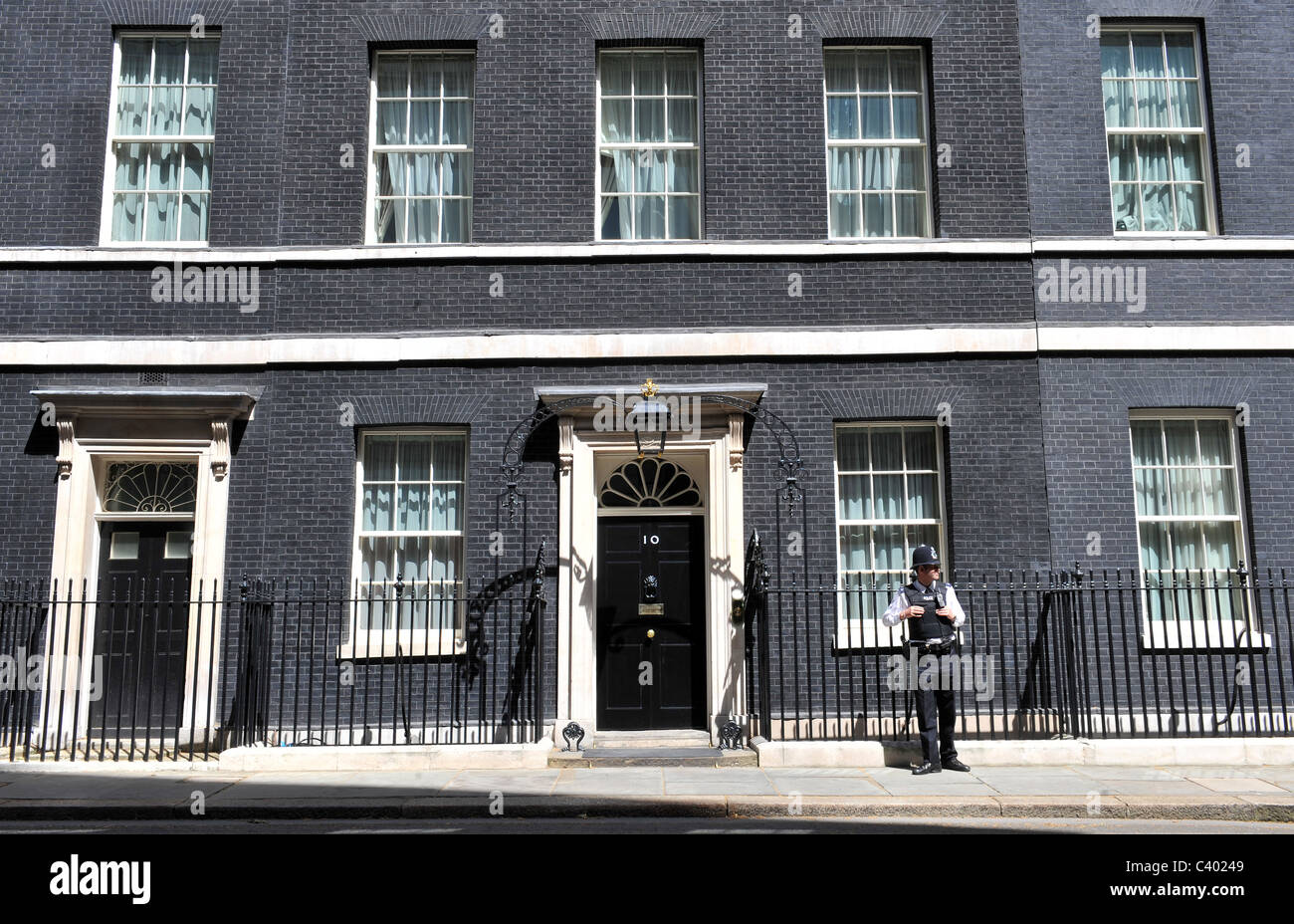 10 Downing Street in London, the official residence of the Prime Minister of England. - Stock Image