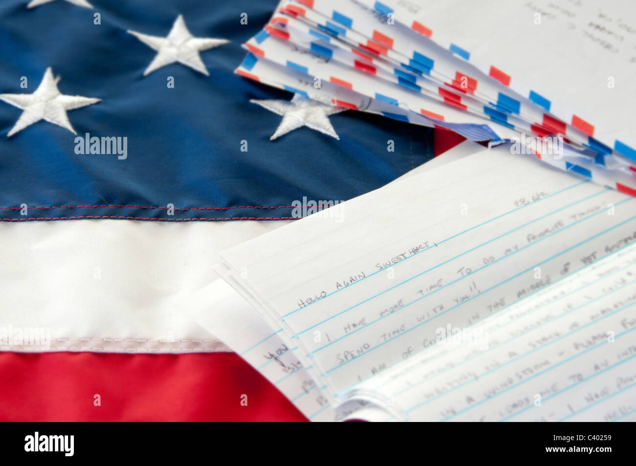 Love letter written to deployed soldier - Stock Image