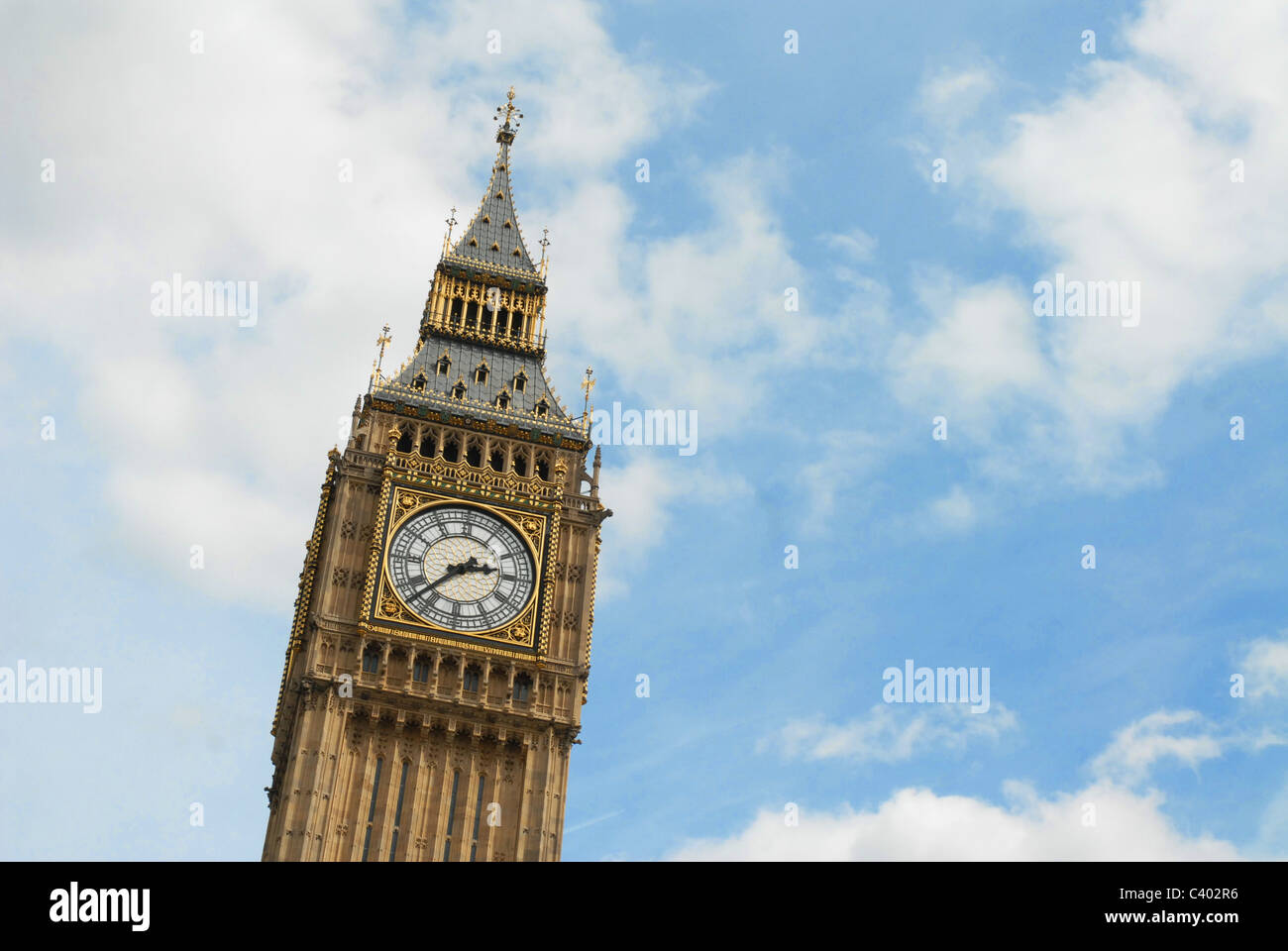 This is an image of Big Ben clock at the Houses of Parliament, UK - Stock Image