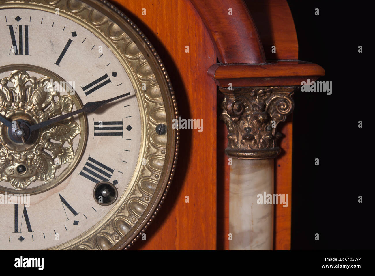 antique clock with roman numbers Stock Photo