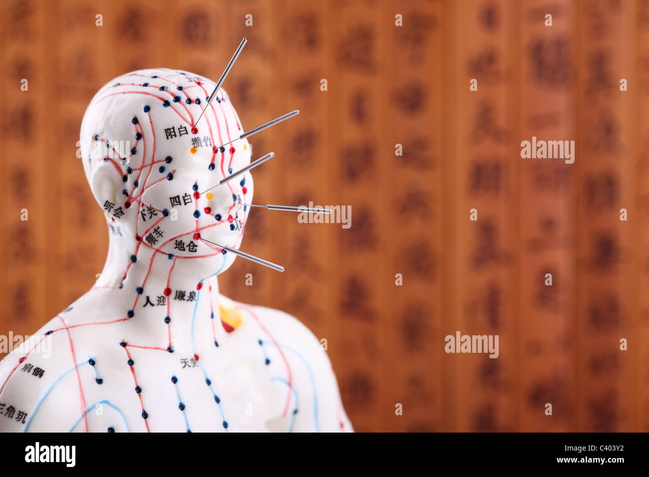 Eastern or Asian acupuncture Medical Treatment. - Stock Image