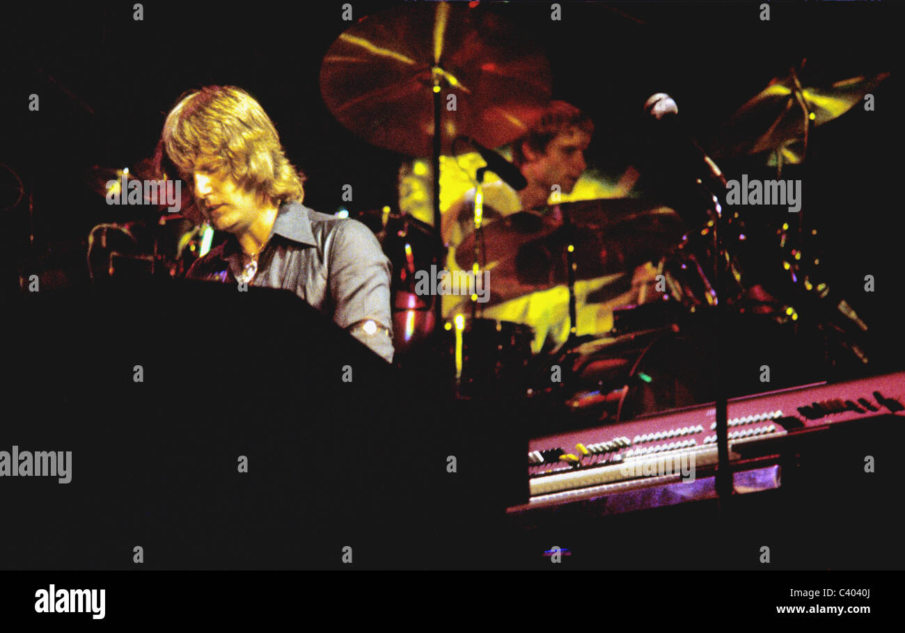 Keith Emerson playing piano and Carl Palmer playing drums in performance with the rock band Emerson, Lake and Palmer. - Stock Image
