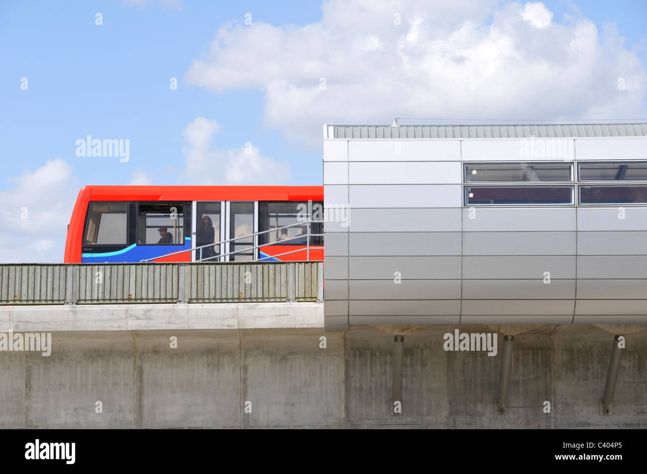 London Pontoon Dock station on elevated section of the Docklands Light Railway run by Serco - Stock Image