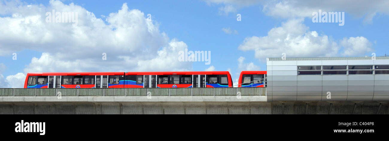 London Pontoon Dock station on elevated section of the Docklands Light Railway run by Serco Stock Photo