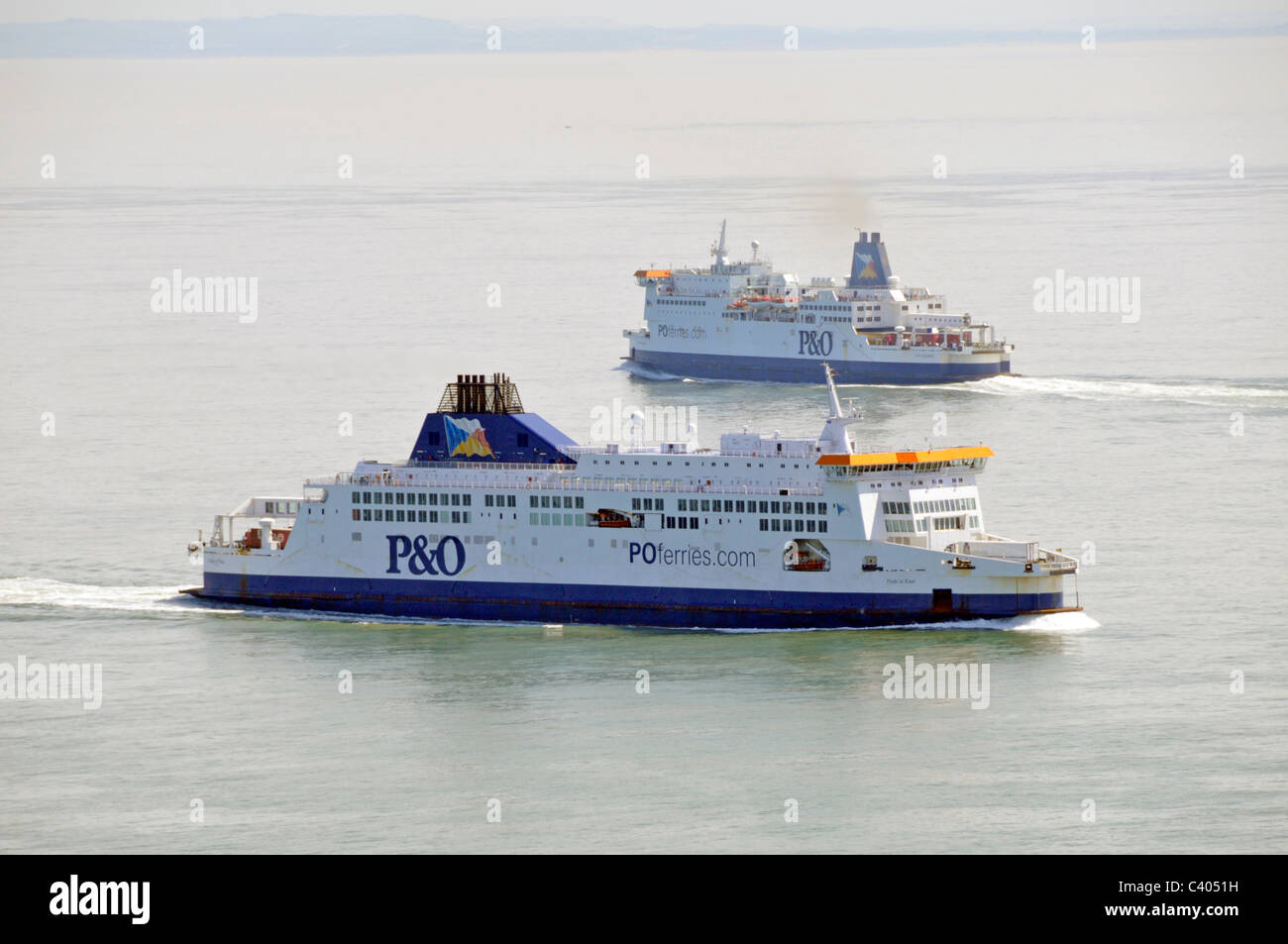 P&O Ferries in the Straits of Dover with French coastline distant - Stock Image