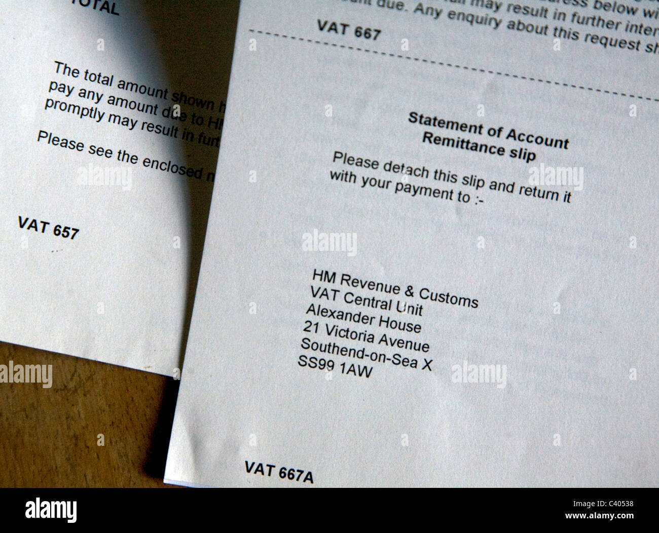 VAT correspondence forms letters - Stock Image