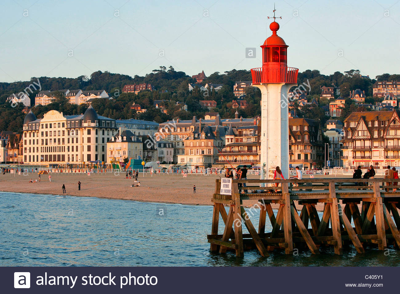 France, Normandy, Trouville sur Mer, lighthouse Stock Photo