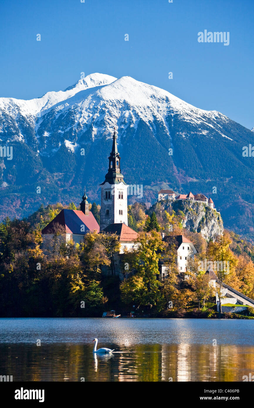 Slovenia, Europe, Bled, lake, autumn, church, mountains - Stock Image