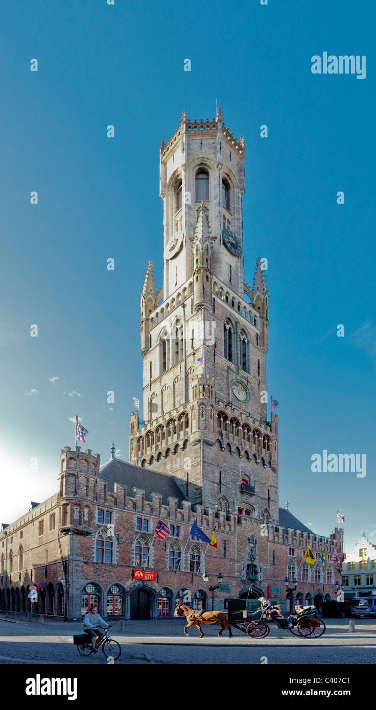 Belgium, Europe, Brugge, marketplace, Belfry, tower, rook, coach - Stock Image