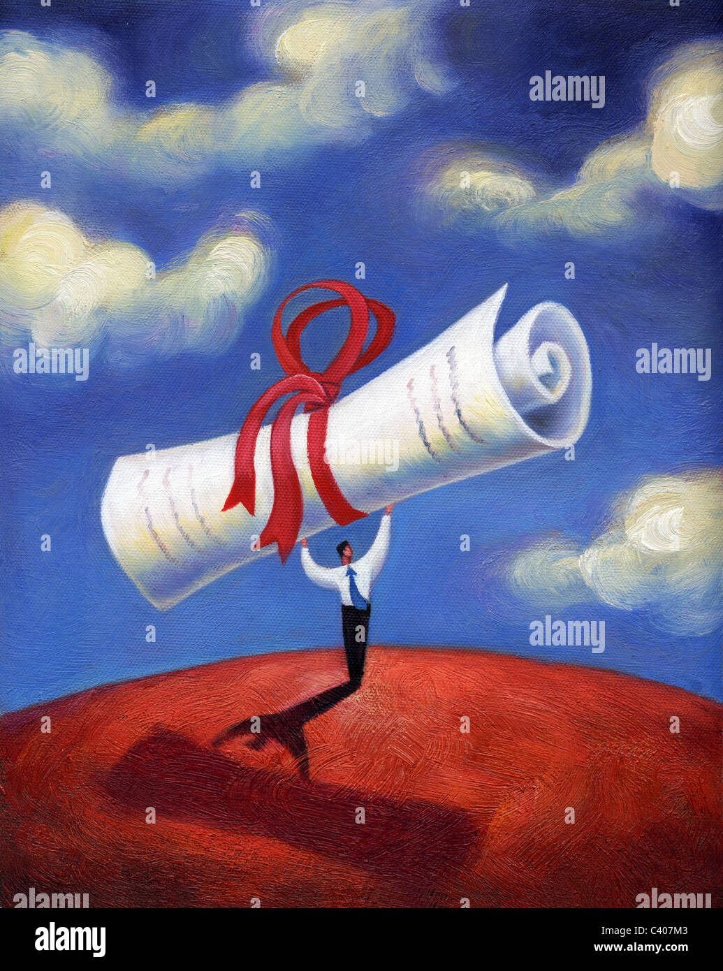 Illustration of a man holding a big scroll - Stock Image