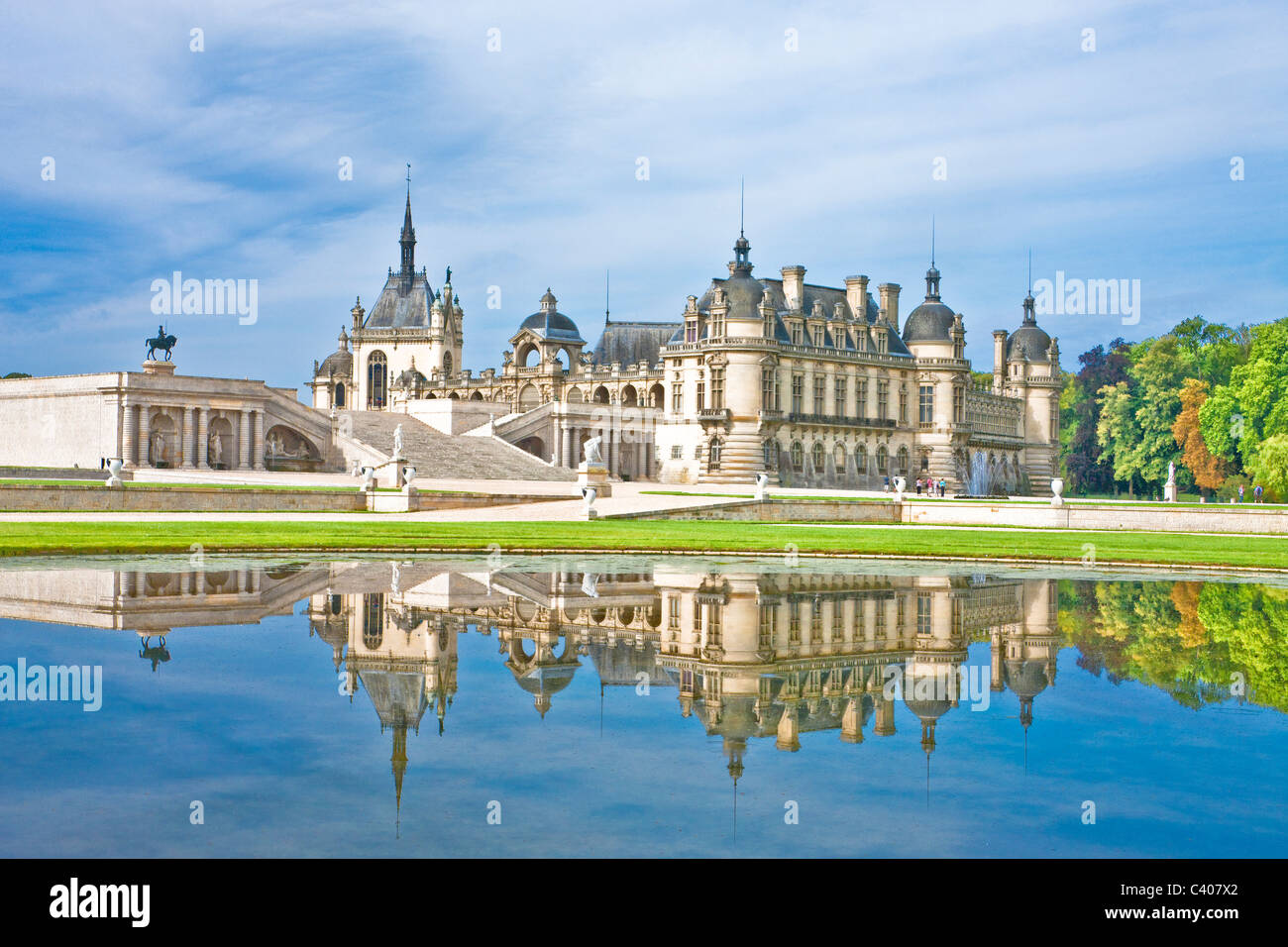France, Europe, Villandry, Picardy, castle, world cultural heritage, water, reflection Stock Photo