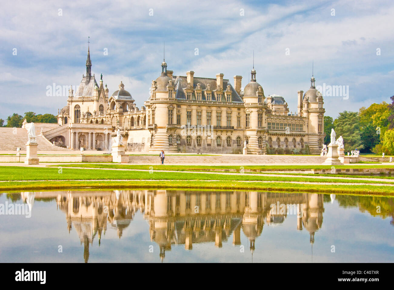 France, Europe, Villandry, Picardy, castle, world cultural heritage, water, reflection, park, - Stock Image