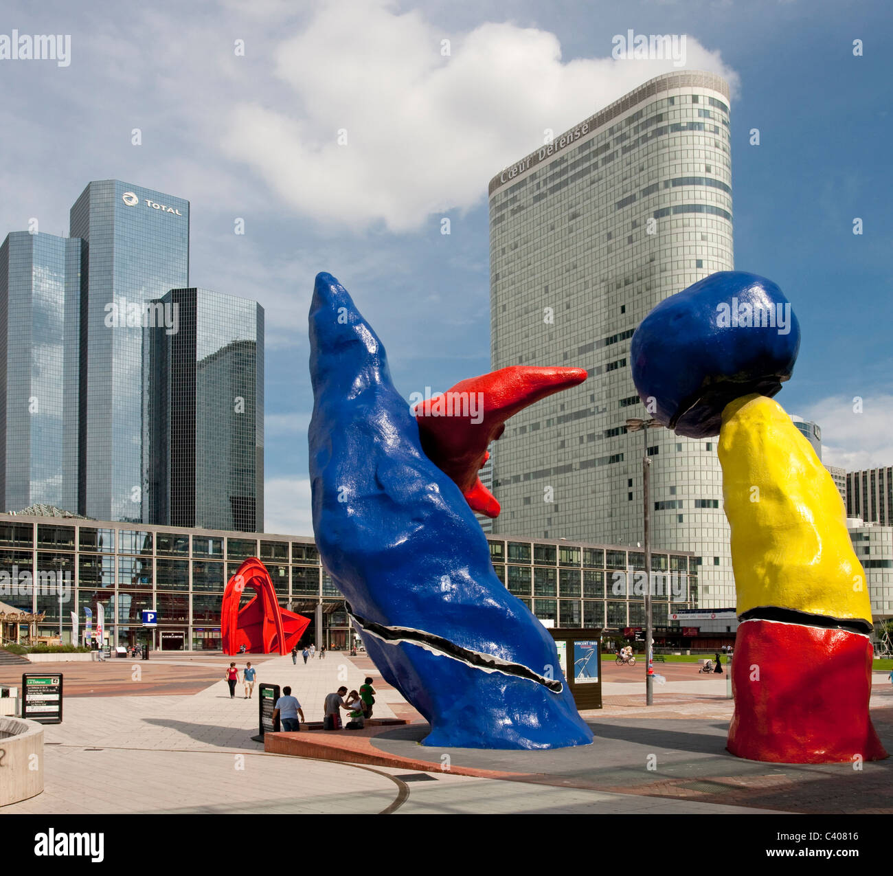 France, Europe, Paris, La Defense, Miro, sculpture, plastic, art, skill, colorfully - Stock Image