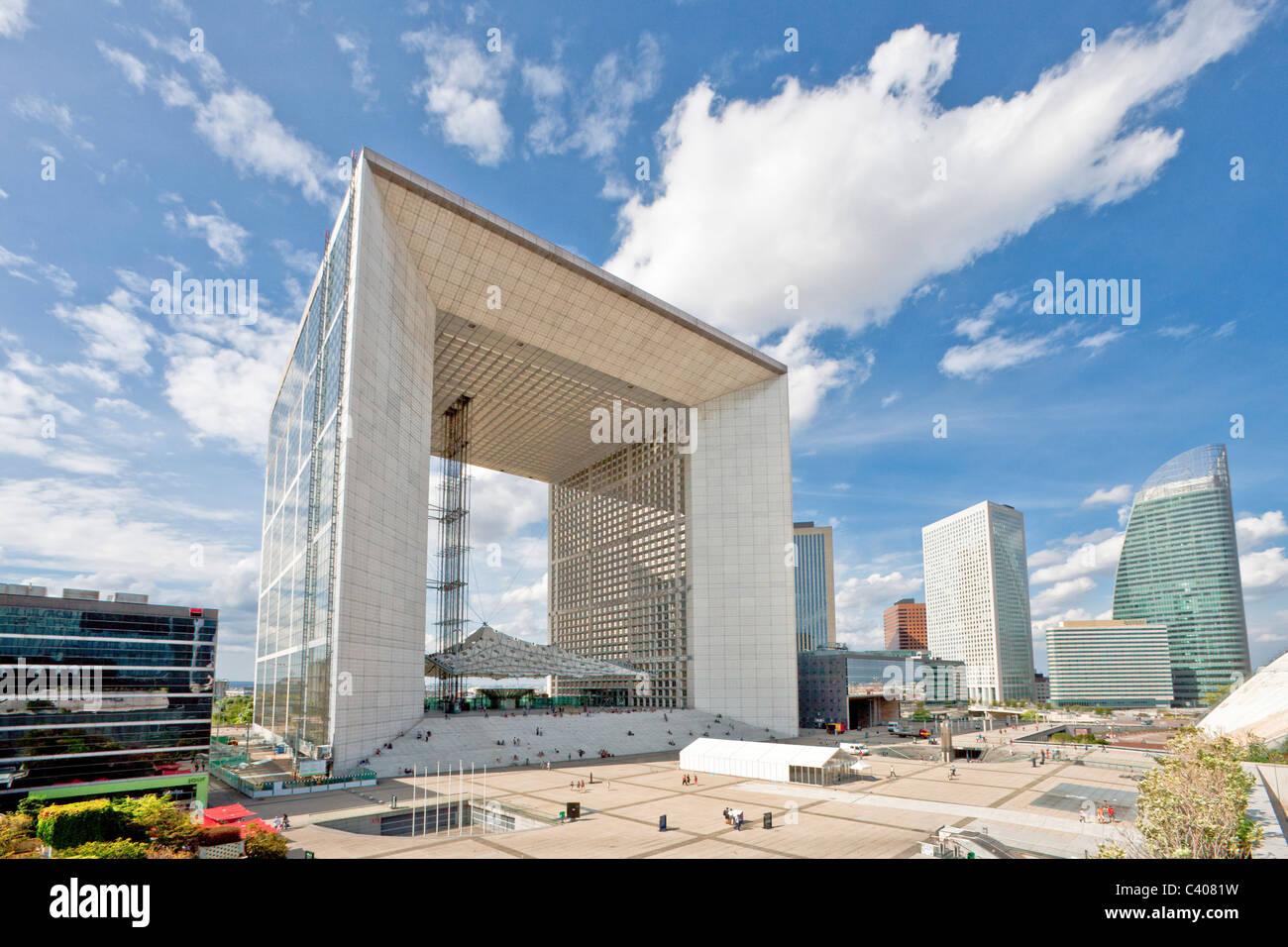 France, Europe, Paris, La Defense, Grande  Arche, triumphal curve, blocks of flats, high-rise buildings, place, Stock Photo