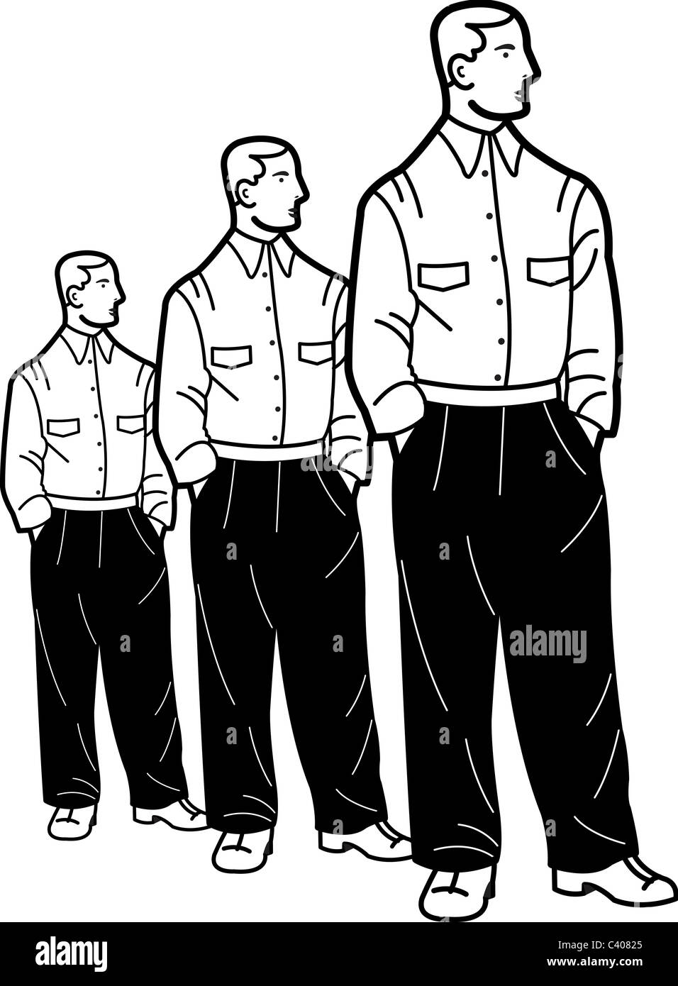 Illustration of three identical men standing with their hands in their pockets - Stock Image