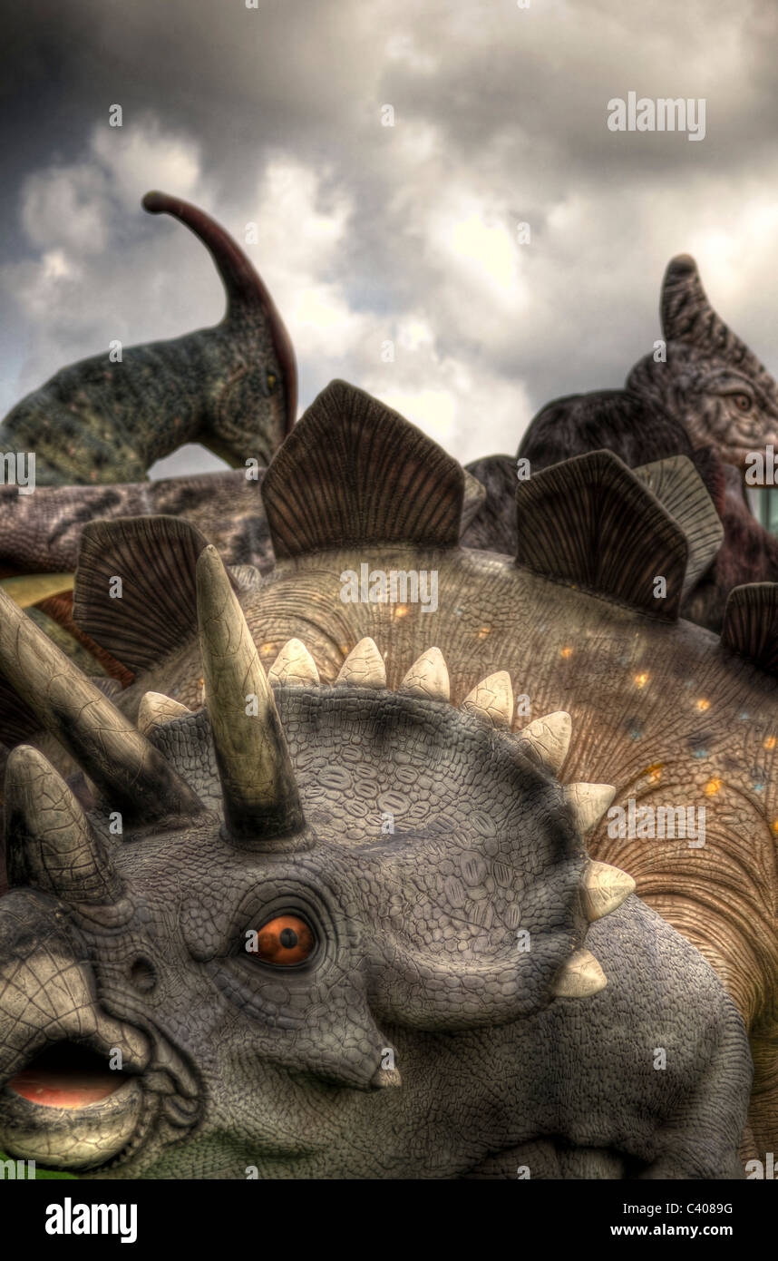 Triceratops three horned Dinosaur at a dinosaur park - Stock Image