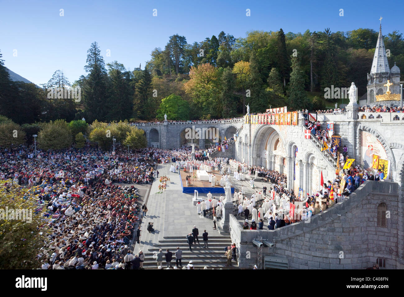 France, Europe, Lourdes, Pyrenees, place of pilgrimage, hope, miracle, disabled, hinders, believers, creditors, - Stock Image
