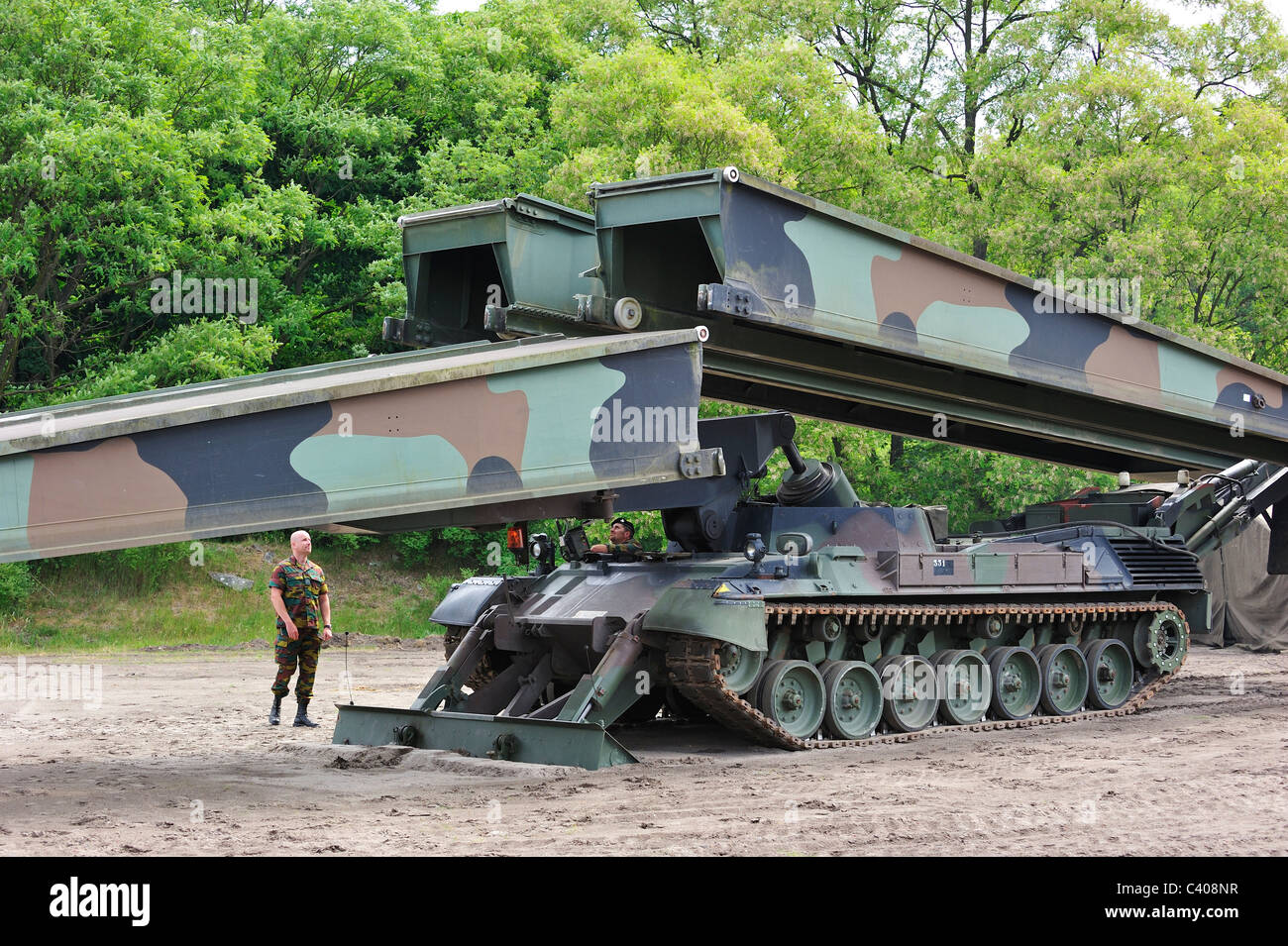 Iguana support bridge mounted on Leopard I tank, combat engineer vehicle of the Belgian army, Belgium - Stock Image