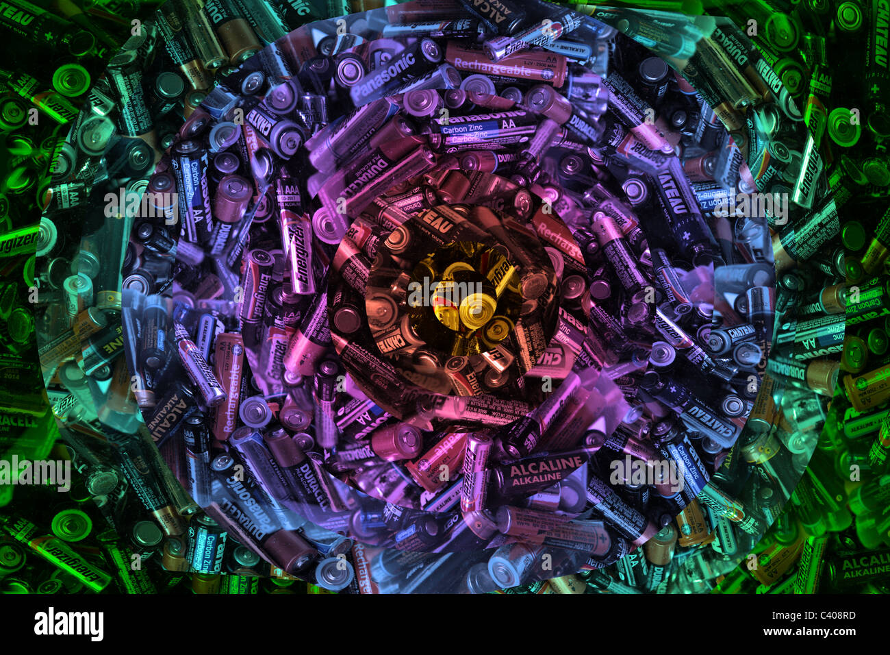 Dynamic vision of a large number of AA batteries, ready to be recycled - Stock Image