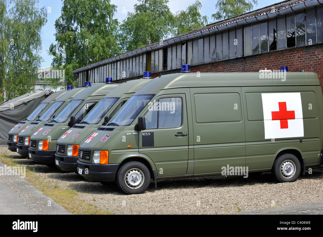 Military ambulances of the Belgian Medical Component, Belgium - Stock Image
