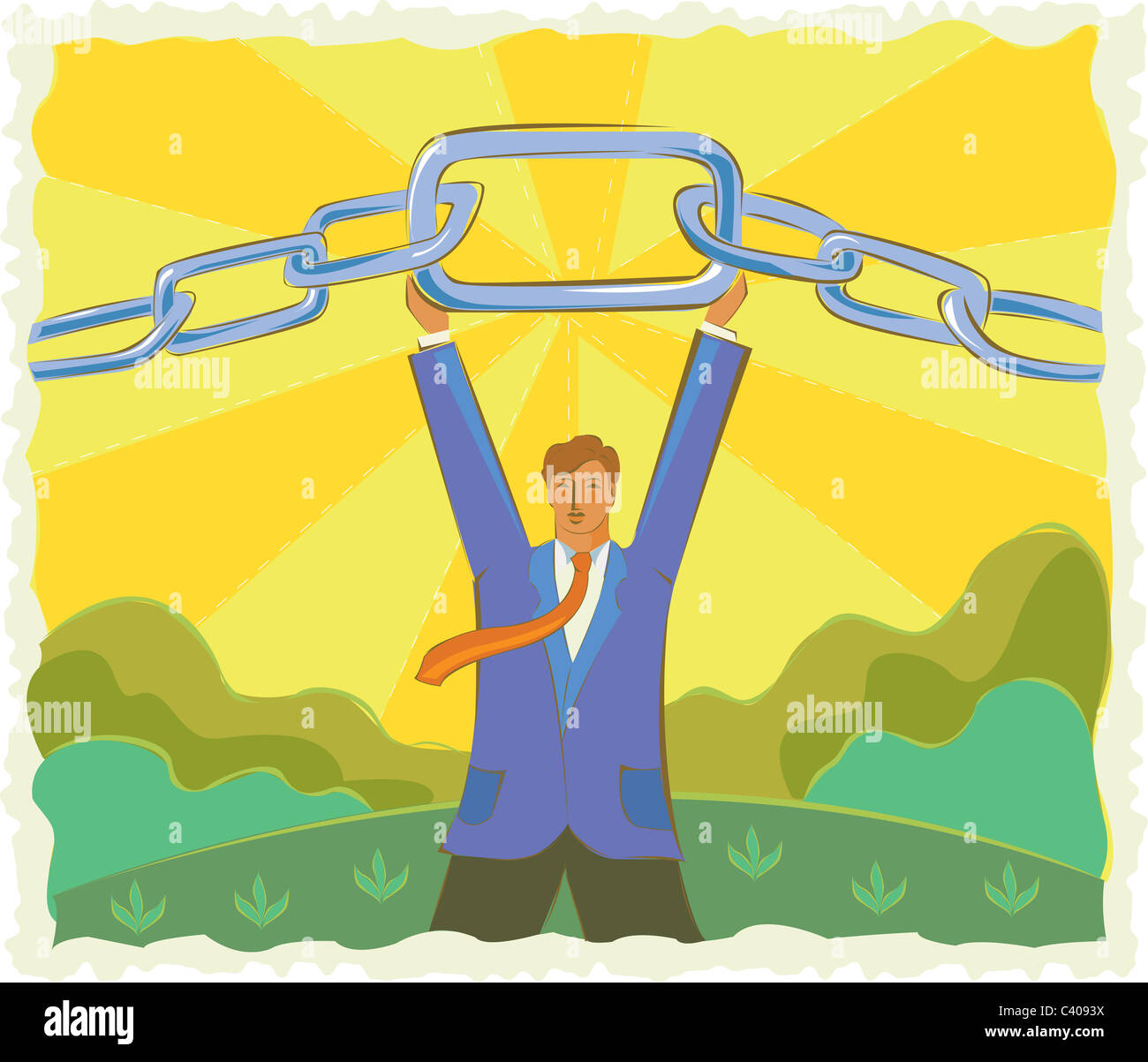 Illustration of a businessman holding a chain - Stock Image