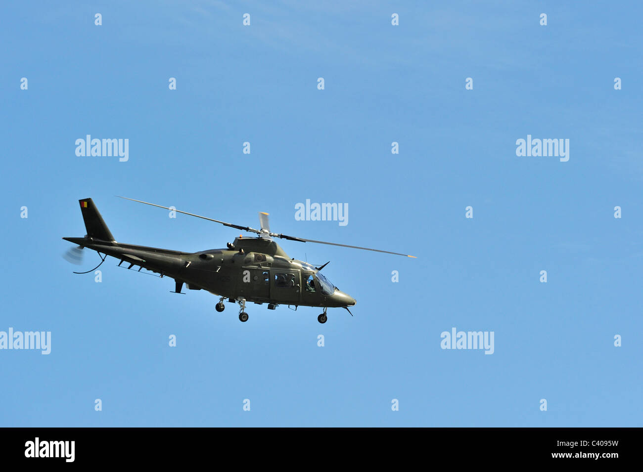 A-109 Agusta / AgustaWestland AW109 helicopter of the Belgian Air Component in flight, Belgium - Stock Image