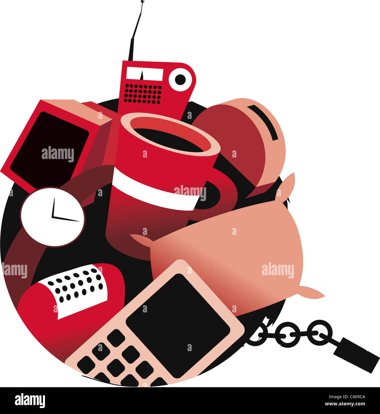Illustration of a ball and chain of possessions - Stock Image
