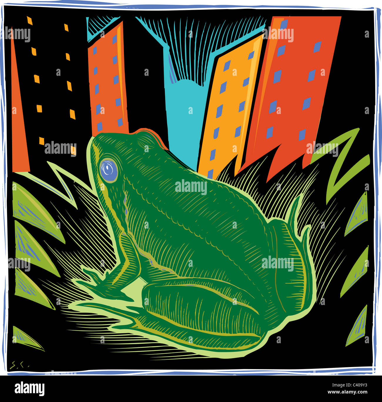 Illustration of a frog in the city - Stock Image