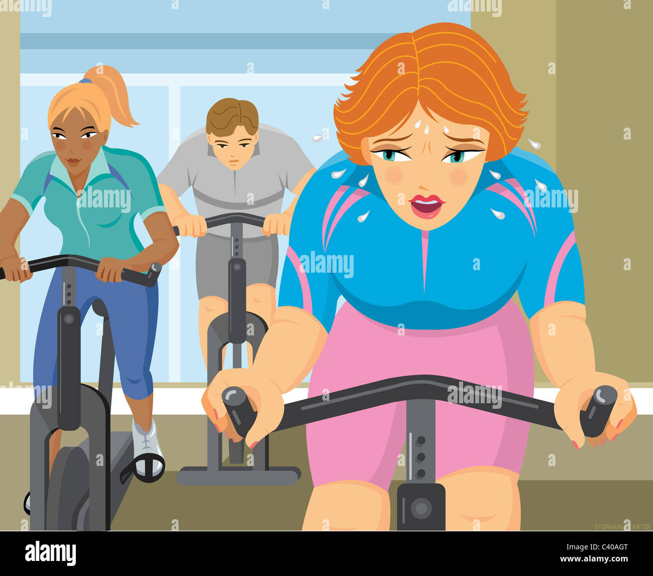 Illustration of a woman in a cycling class - Stock Image