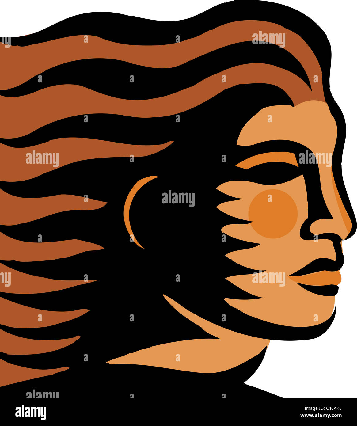 Illustration of a woman with hair blowing in the wind - Stock Image