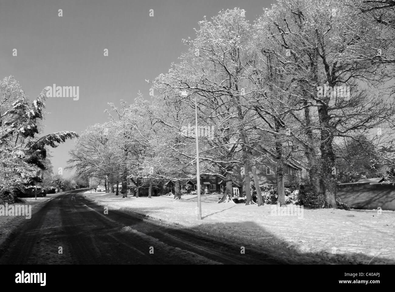 Black/white photo of Guttridge Lane, Tadley, Hampshire, England, UK United Kingdom. - Stock Image