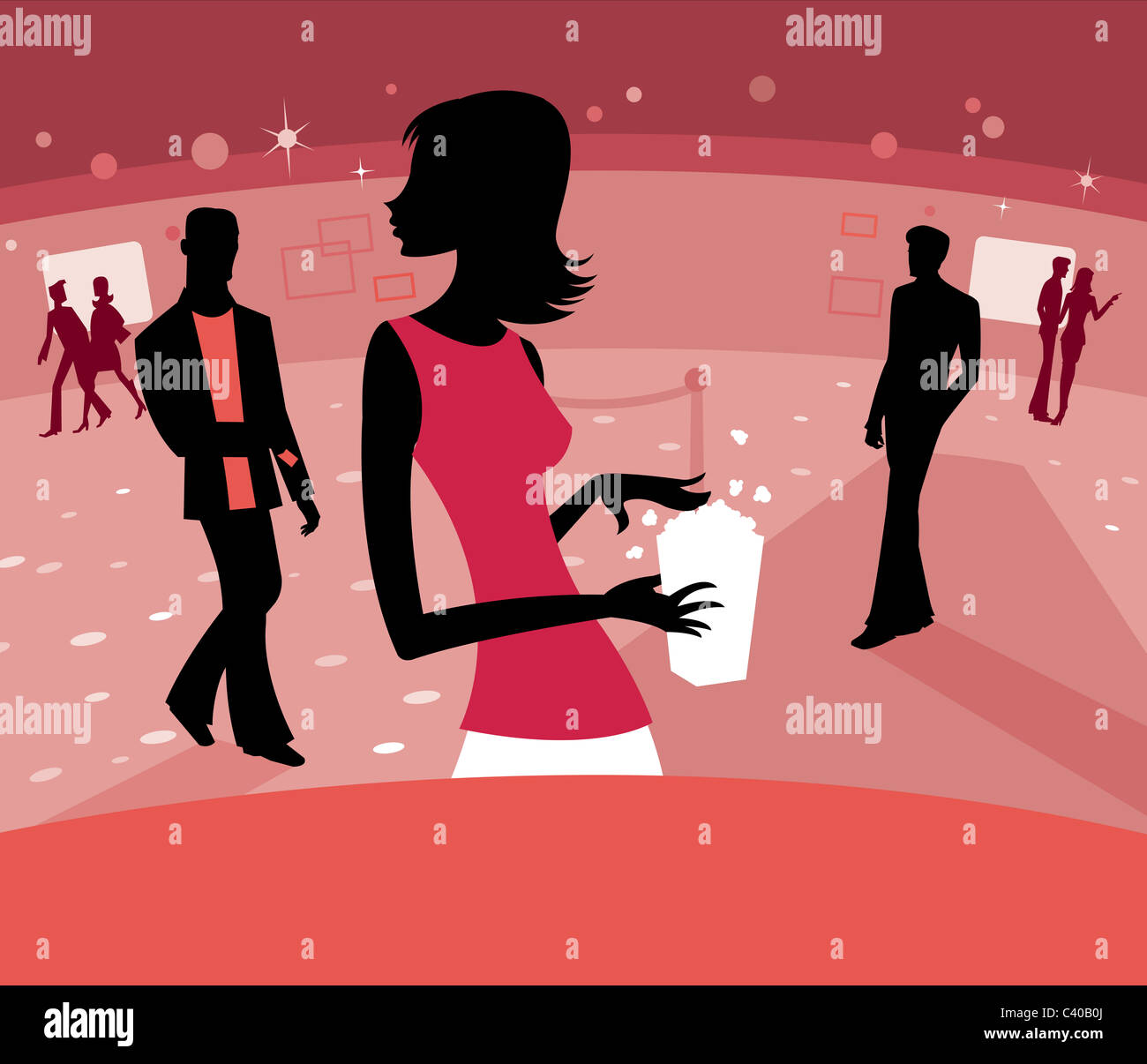 Illustration of a woman getting popcorn - Stock Image
