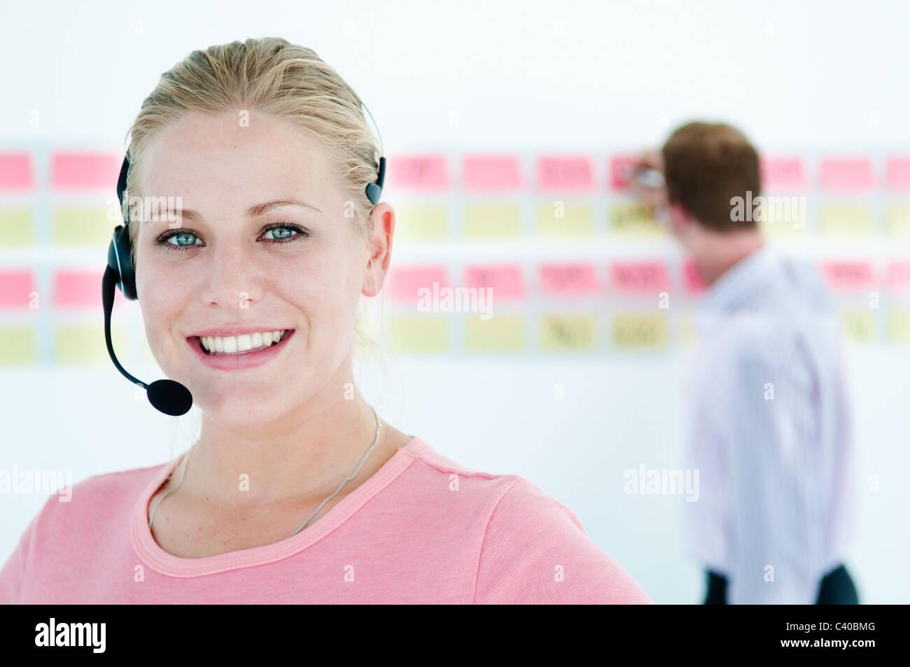 Happy tele worker - Stock Image