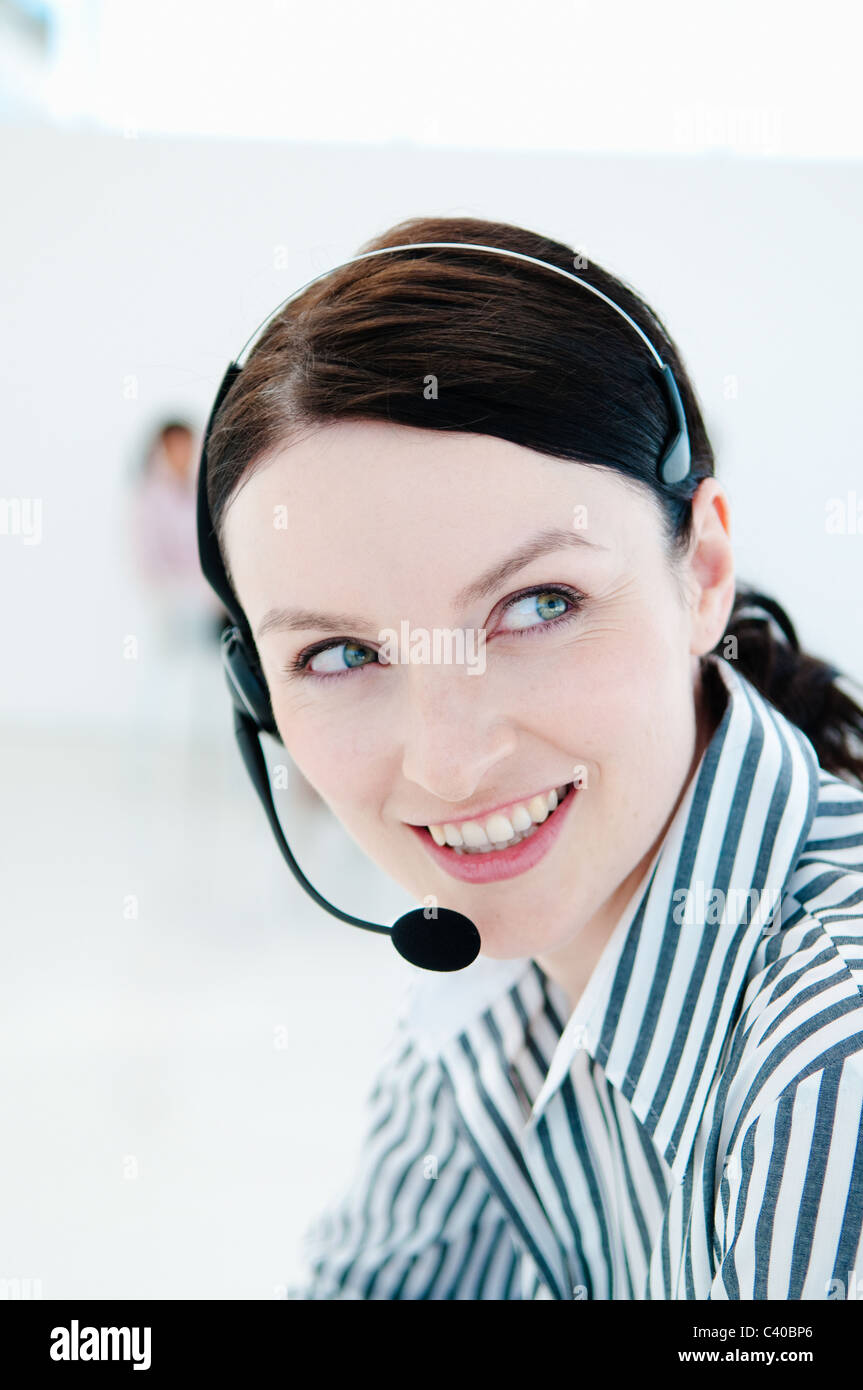 Happy tele sales woman - Stock Image