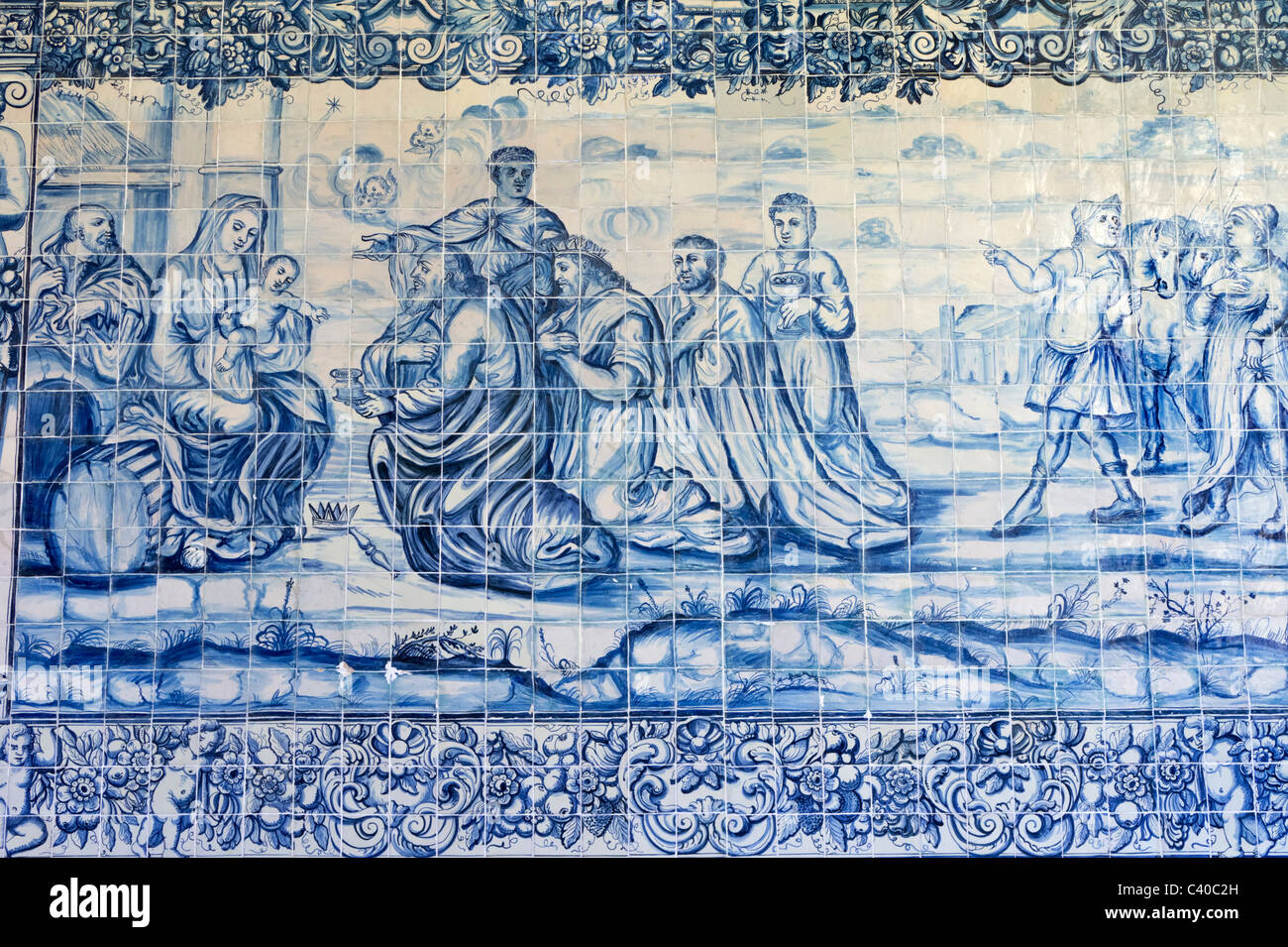 Traditional portuguese azulejos painted tiles - Stock Image