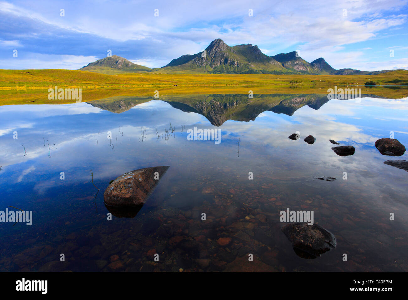 Evening, evening mood, Ben Loyal, mountain, mountains, mountains, bodies of water, summits, peaks, Highland, highlands, - Stock Image