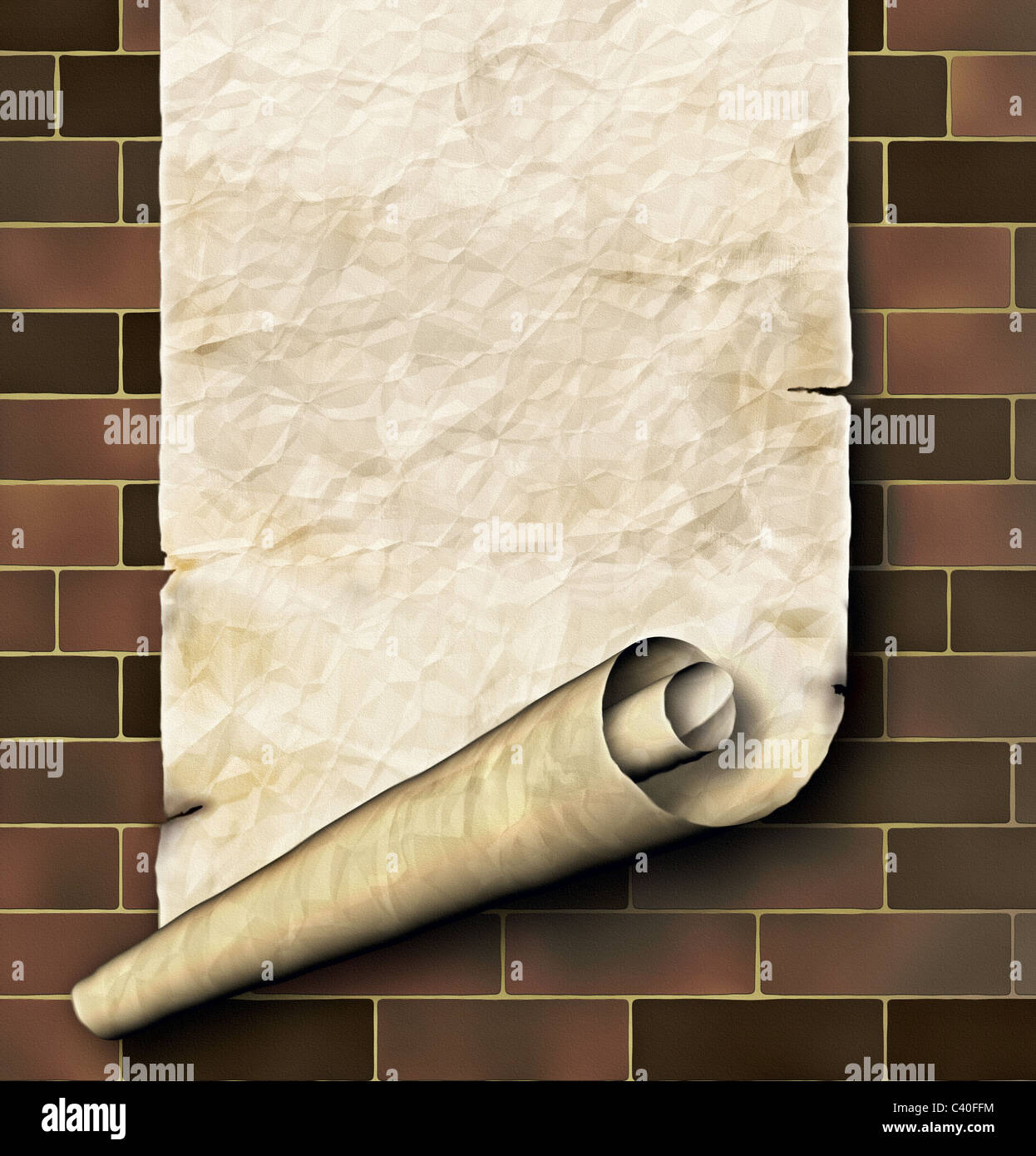 Antique paper scroll - Stock Image