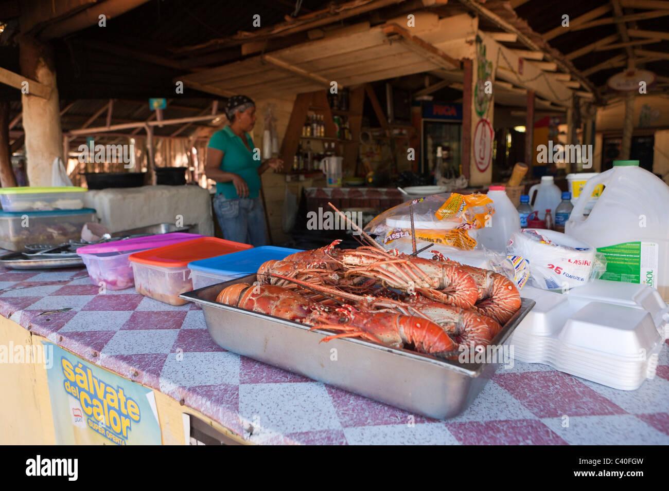 Seafood in Restaurant at Ensenada Beach, Punta Rucia, Dominican Republic - Stock Image